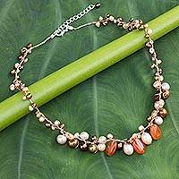 Cultured pearl and carnelian beaded necklace, 'Cinnamon Rose' - Carnelian and Pearl Necklace