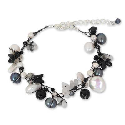 Handcrafted Beaded Pearl and Quartz Bracelet