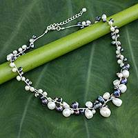 Cultured pearl beaded necklace, 'Monochrome Harmony' - Delicate Thai Handcrafted Beaded Pearl Necklace