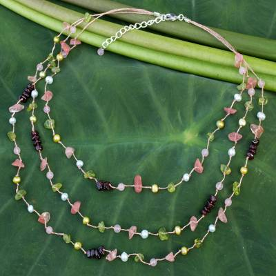 Cultured pearls and peridot beaded necklace, 'Sweet Tropical' - Pearls And Multi Gemstone Beaded Necklace