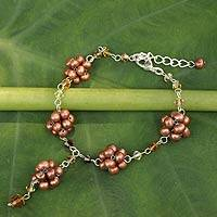 Cultured pearl flower bracelet, 'Bronze Mums' - Handmade Beaded Pearl Bracelet