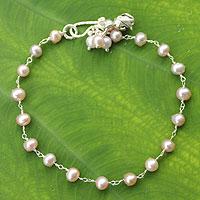 Cultured pearl floral bracelet, 'Pink Rose Horizon' - Silver Pearl Bracelet