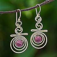 Gold plated rhodonite dangle earrings, 'Follow the Dream' - Hand Made Gold Plated Rhodonite Dangle Earrings