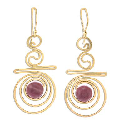 Gold plated rhodonite dangle earrings, 'Follow the Dream' - Hand Made Gold Plated Rhodonite Dangle Earrings