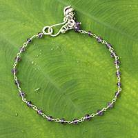 Amethyst floral bracelet, 'Rose Horizon' - Unique Amethyst Beaded Bracelet