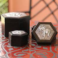 Wood boxes, 'Elephants in Paradise' (set of 3) - Wood Decorative Boxes (Set of 3)