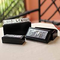 Nickel and wood boxes, 'Siamese Elephant' (set of 3)