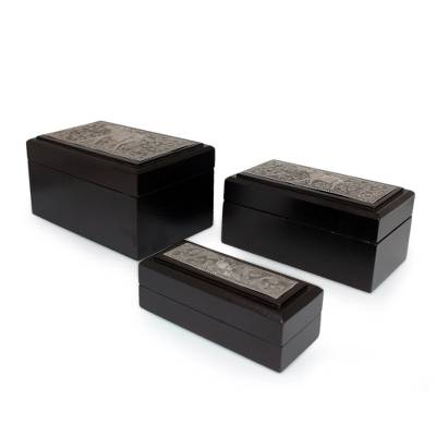 Nickel and wood boxes, 'Siamese Elephant' (set of 3) - Handmade Nickel and Wood Decorative Boxes (Set of 3)