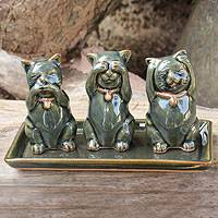 Celadon ceramic figurines, 'Cats Shun Evil' (set of 3) - Celadon ceramic figurines