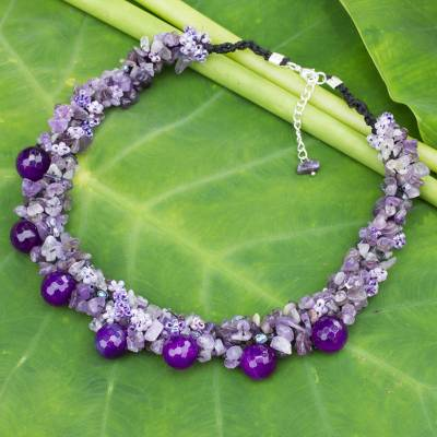 Amethyst cluster necklace, 'Gush' - Handmade Amethyst Cluster Necklace