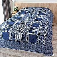 Cotton bedspread, 'Indigo Passion' (twin) - Artisan Crafted Cotton Bedspread (Twin)