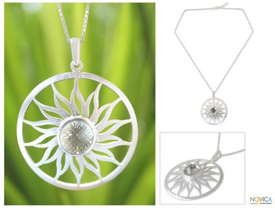 Prasiolite pendant necklace, 'Sun of Love' - Prasiolite pendant necklace