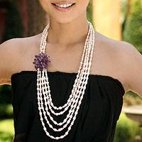 Cultured pearl and amethyst strand necklace, 'Purple Snow Peony'