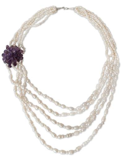 Pearl and Amethyst Strand Necklace