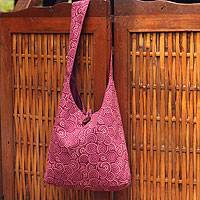Cotton shoulder bag, 'Psychedelic Pink' - Cotton shoulder bag
