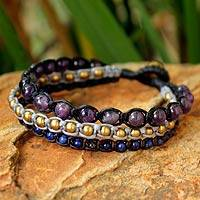 Amethyst and lapis lazuli beaded bracelet, 'Urban Colors'