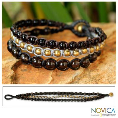 Smoky quartz beaded bracelet, 'Urban Colors' - Smoky Quartz Beaded Bracelet Handmade in Thailand