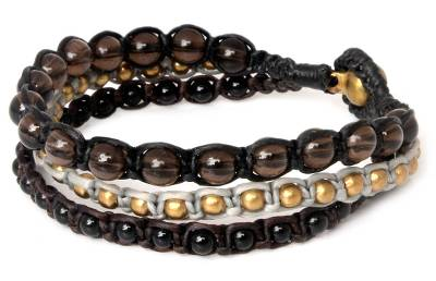 Smoky quartz beaded bracelet, 'Urban Colors' - Smoky Quartz Beaded Bracelet Handmade in Thailand