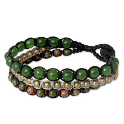 Fair Trade Unakite Beaded Bracelet