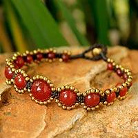 Beaded bracelet, 'Fiery Passion' - Brass Beaded Chalcedony Bracelet