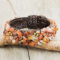Carnelian cuff bracelet, 'Sunny Day' - Artisan Crafted Carnelian Cuff Bracelet