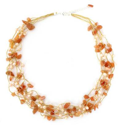 Hand Crafted Beaded Aventurine and Pearl Necklace
