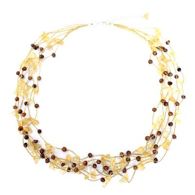Cultured pearl and citrine beaded necklace