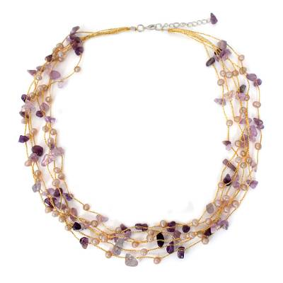 Cultured pearl and amethyst beaded necklace, 'Afternoon Lilac' - Beaded Amethyst and Pearl Necklace