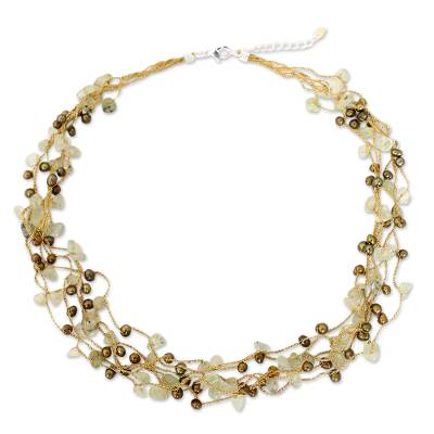 Cultured pearl and prehnite beaded necklace