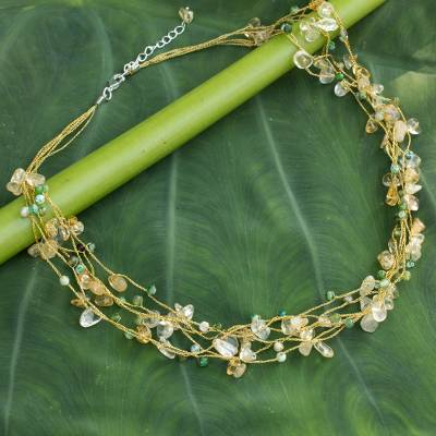 Citrine beaded necklace, 'Afternoon Sun' - Citrine and Green Agate Beaded Necklace