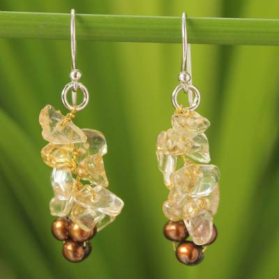 Cultured pearl and citrine cluster earrings, 'Afternoon Light' - Thai Beaded Citrine and Pearl Earrings