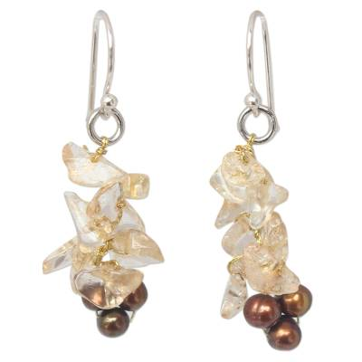 Thai Beaded Citrine and Pearl Earrings