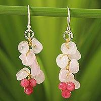 Rose quartz cluster earrings, 'Afternoon Pink' - Handmade Beaded Rose Quartz Earrings