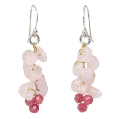 Handmade Beaded Rose Quartz Earrings