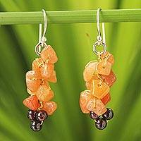 Aventurine and garnet cluster earrings, 'Afternoon Passion' - Aventurine and garnet cluster earrings