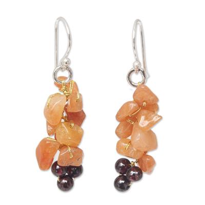 Aventurine and garnet cluster earrings