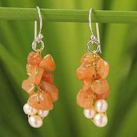 Cultured pearl and aventurine cluster earrings, 'Afternoon Glow' - Beaded Aventurine and Pearl Earrings