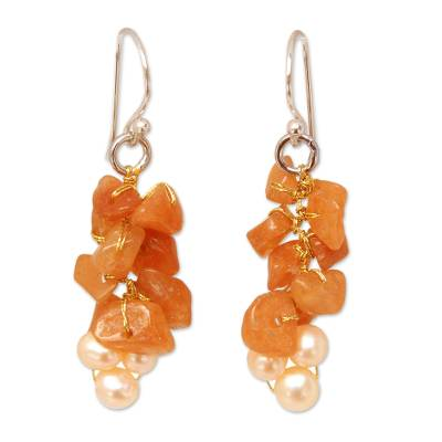 Beaded Aventurine and Pearl Earrings