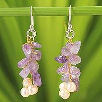 Cultured pearl and amethyst cluster earrings, 'Afternoon Lilac' - Unique Amethyst and Pearl Earrings from Thailand