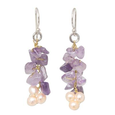Unique Beaded Amethyst Earrings