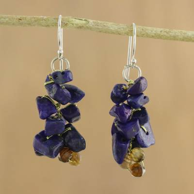 Lapis lazuli cluster earrings, 'Afternoon Blue' - Artisan jewellery Lapis Lazuli Dangle Earrings