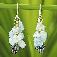 Cultured pearl and aquamarine cluster earrings, 'Afternoon Sigh' - Handmade Cluster Earrings with Aquamarine and Pearls