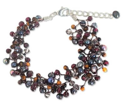 Hand Crafted Pearl and Garnet Bracelet
