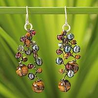 Cultured pearl and tiger's eye beaded earrings 'Stormy Weather' - Tiger's Eye and Pearl Cluster Earrings