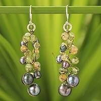 Cultured pearl and peridot beaded earrings, 'Bright Passion' - Handcrafted Metallic and Citrine Glass Bead Earrings