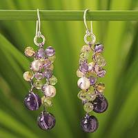 Cultured pearl and amethyst beaded earrings, 'Mystic Passion' - Multigemstone Dangle Earrings from Thailand