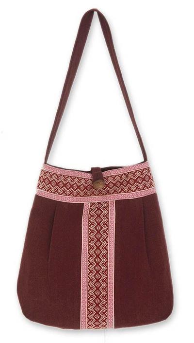 Cotton shoulder bag, 'Lanna Bouquet' - Floral Embroidered Cotton Shoulder Bag