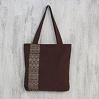 Cotton shoulder bag, 'Golden Lanna Lotus'