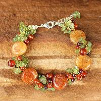 Carnelian and peridot beaded bracelet, 'Peony Romance' - Carnelian and Peridot Beaded Bracelet