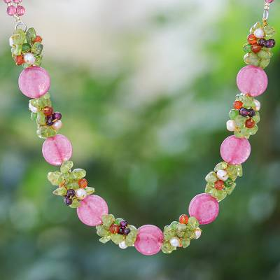 Cultured pearl and peridot beaded necklace, 'Peony Romance' - Beaded Quartz Multigem Necklace from Thailand